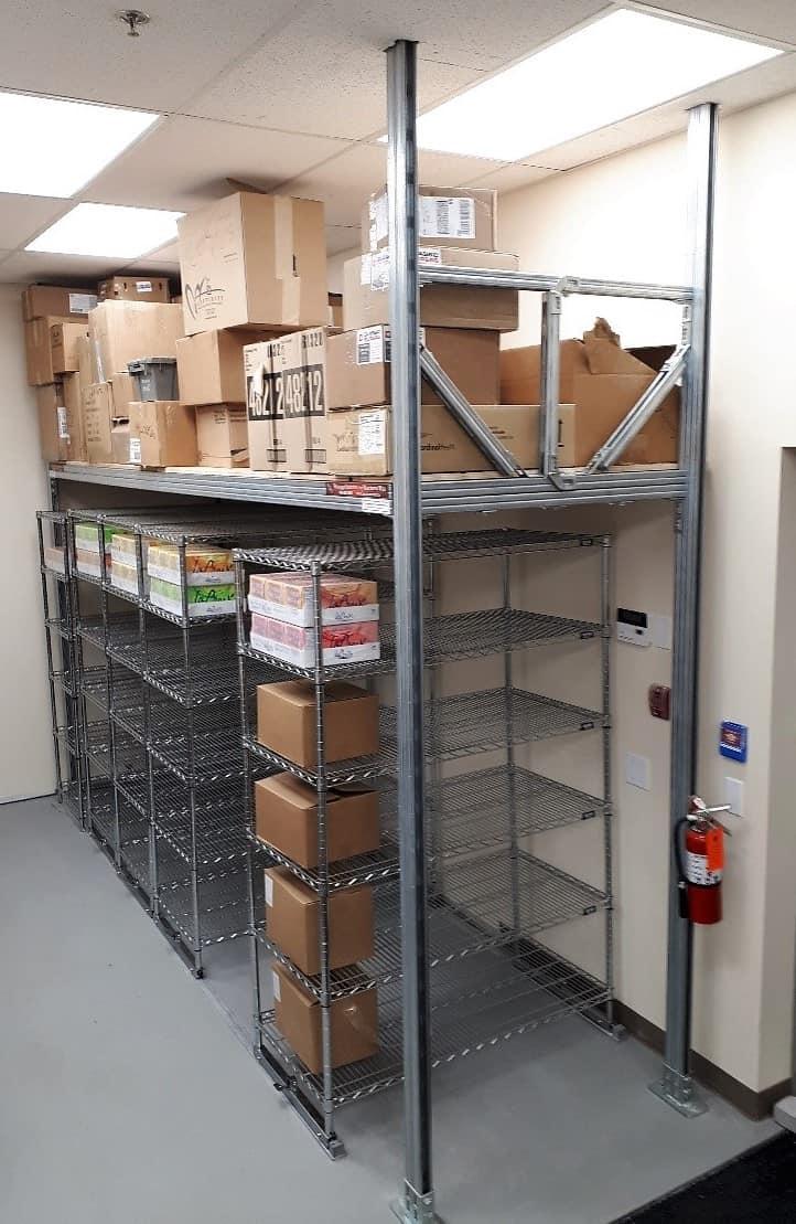 Custom Storage Platform above Shelves